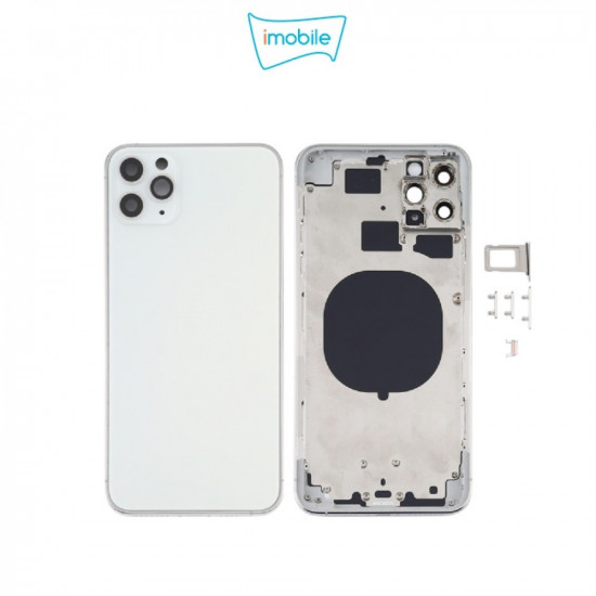 (7272) iPhone 11 Pro Max Compatible Back Housing [no small parts] [Silver]