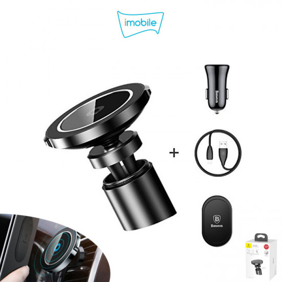 (5185) Baseus Magnetic Car Mount Wireless Charger [WXER-01] Clamp or Stick To Car Dashboard