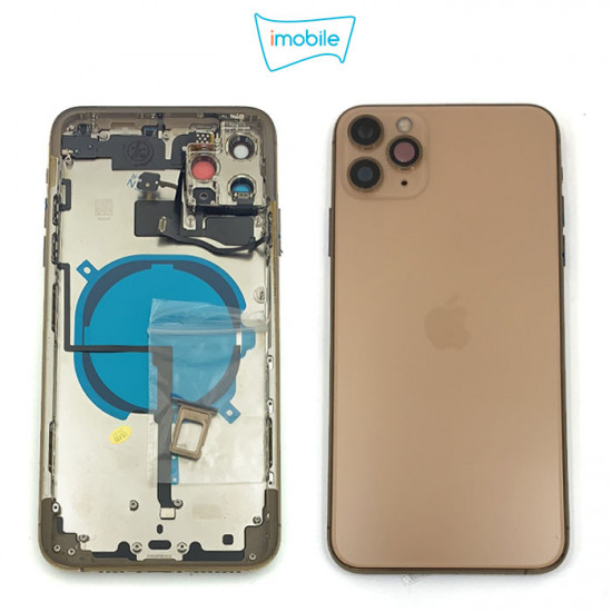 iPhone 11 Pro Max Compatible Back Housing [with Tested Button Flex and Brackets] [Gold]