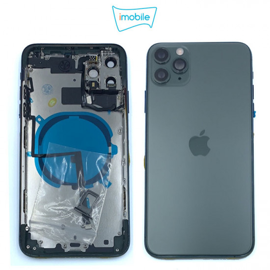 iPhone 11 Pro Max Compatible Back Housing [with Tested Button Flex and Brackets] [Green]