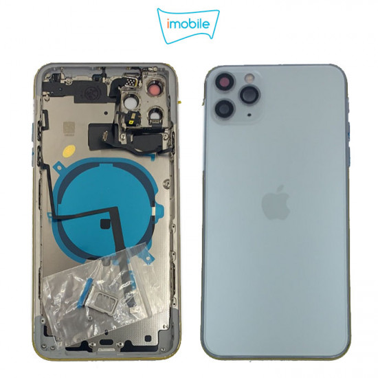 iPhone 11 Pro Max Compatible Back Housing [with Tested Button Flex and Brackets] [Silver]