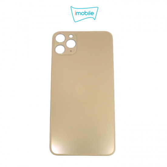 (6308) iPhone 11 Pro Max Compatible Back Cover Glass Big Camera Hole [Gold]