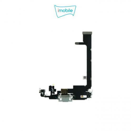 (6785) iPhone 11 Pro Max Compatible Charging Port Flex Cable [Silver] Original