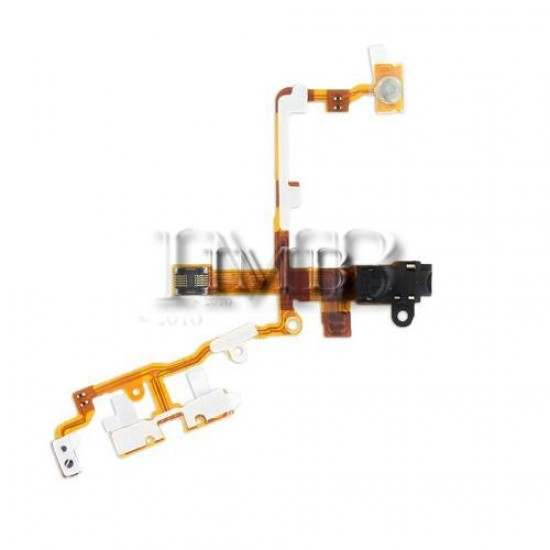 (a348) iPhone 3GS Compatible Power Volume Mute Button Flex Cable With Handsfree Port [Black]