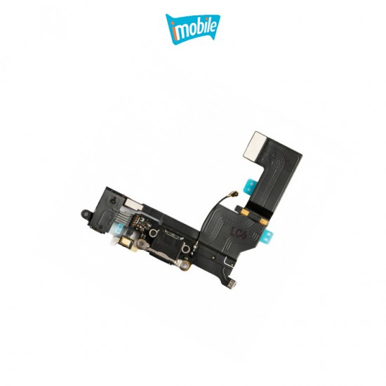 (1968) iPhone SE Compatible Charging Port with Flex Cable, Headphone Jack and Microphone Black