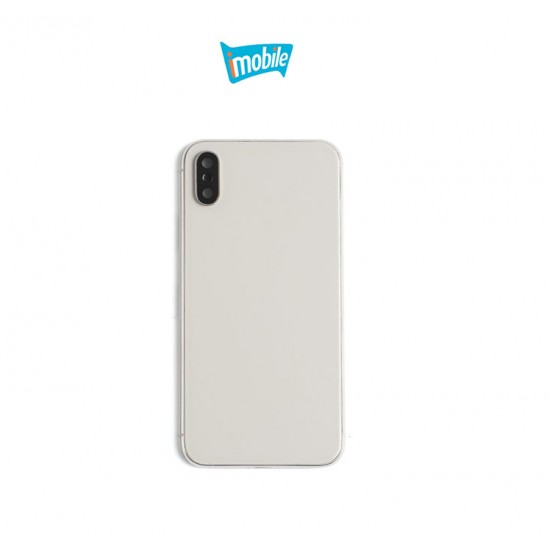 (4897) iPhone X Compatible Back Housing no Small Parts [Silver]